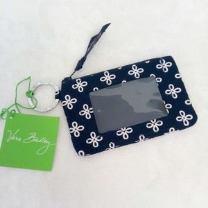 Vera Bradley zip ID case mini wallet badge holder